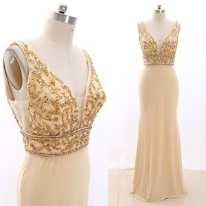 Straps V neck  Jersey Gold Beaded Formal Gown